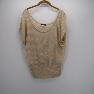 VENUS Scoop Neck Crochet Cap Sleeve Top Blouse
